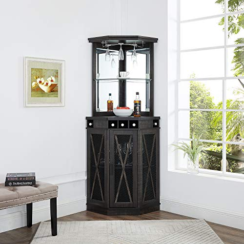 Home Source Grey Corner Bar Unit with Built-in Wine Rack and Lower Cabinet
