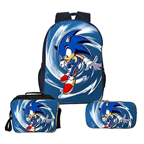 Sonic Backpack 3pcs/lot Sonic Backpack Kids Boys Girls Backpacks Children Surprise Gift School Bags Backpack+lunchbag+pencilcase