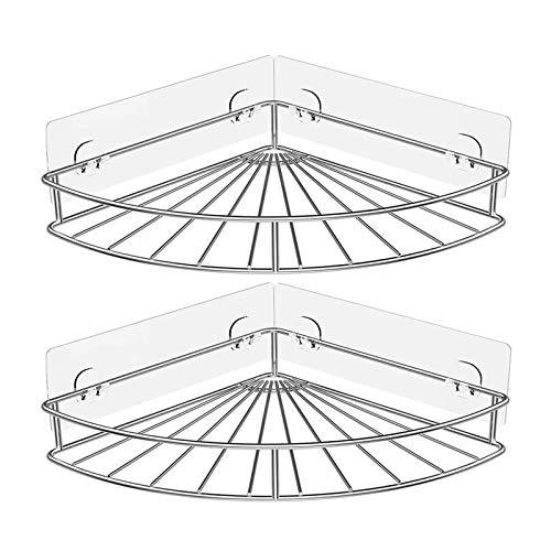 2 Paquete Estante Baño, Cesta Ducha Autoadhesiva Montada En Pared Estantes Carrito Ducha Almacenamiento Esquina de Baño Acero Inoxidable Sin Perforación