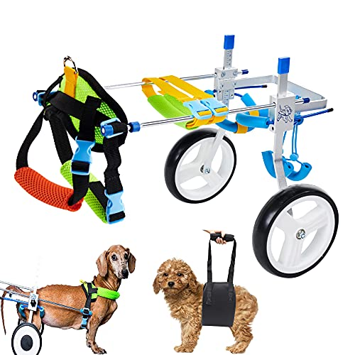Prolee Adjustable Dog Wheelchair Pet Cart for Back Legs, with A Free Dog Sling, Animal Exercise Wheels for Handicapped Hind Legs Small Dogs