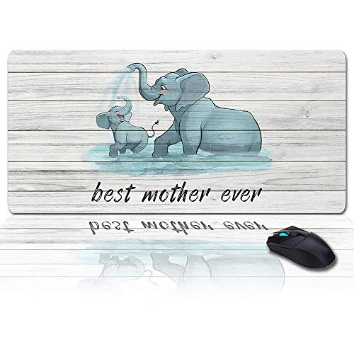 MIGAGA Extra Large Extended Gaming Mouse Pad(35x15 in),Lovely Elephant,Best Mother Ever Mousepad,Long Non-Slip Rubber Base,XXL Large Keyboard Desk Mat for Desktop/Laptop/Office/Home