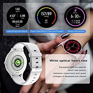 QWMoonRu 1.28inch Full Circle Touch Screen Smart Watch,Bluetooth IP67 Waterproof Fitness Tracker, Sleep/Heart Rate Monitor/Step/Calorie Counter,Smart Watch Compatible Android iPhone,White