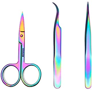 WOKOTO Nail Tweezers And Scissors Kit Straight Curved Rainbow Stainless Steel Precision Tweezers Set For Nail Art Sticker ...