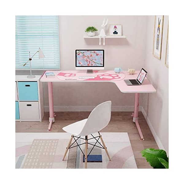 Eureka Ergonomic L60 Corner Gaming Desk L Shape Pink Gaming Computer Desk Home Office Writing Table 60 X 43in W Mousepad Popular Gift For Girlfemalee Sports Lover Right Side