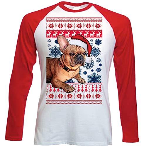 teesquare1st Santa French Bulldog Ginger Christmas Camiseta DE Mangas ROJA...