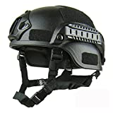 Casco protector ajustable, MICH 2000 Action Version ABS Tactical Casco con soporte NVG y rieles laterales para exterior Airsoft táctico militar Paintball caza CS Game, negro, Tamaño libre