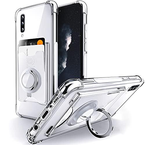 Shields Up Funda Transparente para Galaxy A70,Funda Samsung A70 con Soporte de Anillo Giratorio de 360 Grados y Tarjetero,Estuche Transparente de TPU a Prueba de Golpes-Transparente
