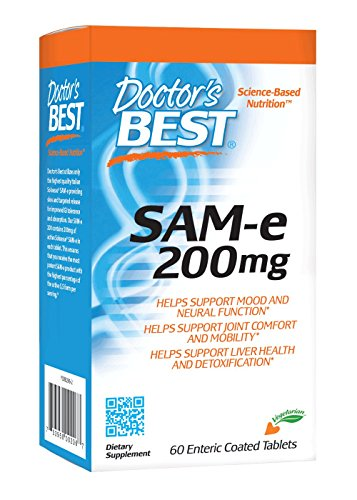 Doctor's Best SAM-e 200 mg, Vegan, Gluten Free, Soy Free, Mood & Joint Support, 60 Enteric Coated Tablets