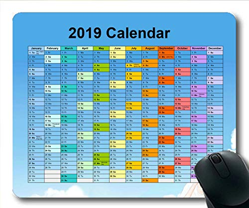 Yanteng Alfombrilla de ratón Calendario 2019 Negra, días Calendario Alfombrillas de ratón para Juegos, planificador de Calendario 2019 con Detalles de Vacaciones