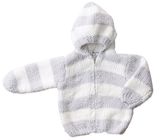Angel Dear Baby Chenille Hoodie, Grey/White, 12/18M