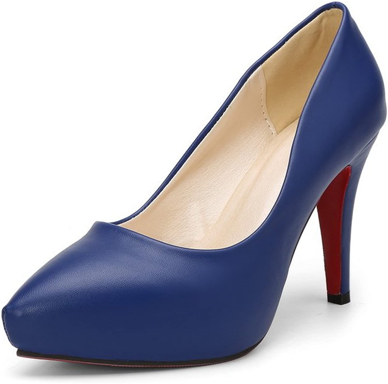 BalaMasa Womens Spikes Stilettos Pointed-Toe No-Closure Urethane Pumps shoes