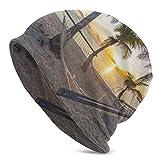 TABUE Gorro Slouch Beanie, Transpirable, Ligero, Elástico, Suave Gorra de Calavera Playa Paraíso con Hamaca Cocoteros