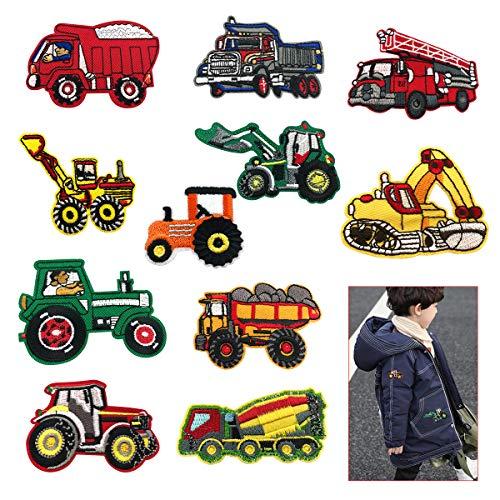 HANGNUO Aufnäher zum Aufbügeln, bestickt, schwere LKWs, Kipper, Bagger, Traktor, Loader, Tracker, Bulldozer, Transporter, Kipper, DIY, Aufnäher für Kleidung