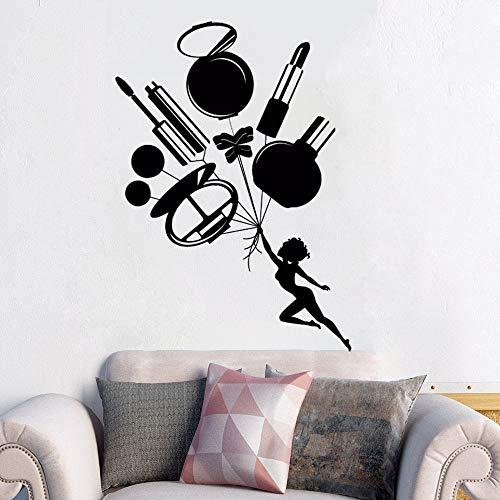 wopiaol Schönheitssalon Wandaufkleber Vinyl Wandaufkleber Abnehmbare Kosmetik Wandtattoo Damen Kosmetik Werkzeuge Wandkunst Wanddekoration