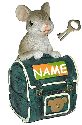 alles-meine.de GmbH Spardose -  Maus mit grünem Schulranzen / Rucksack  - incl. Name - mit Schlüssel - stabile Sparbüchse aus Kunstharz - Schulanfang Mäuse Geld - ABC Schütze -..