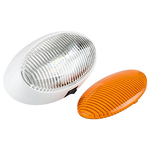 Lumitronics RV 12V LED Oval Porch Utility Light with On/Off Switch - Clear & Amber Lenses (White)