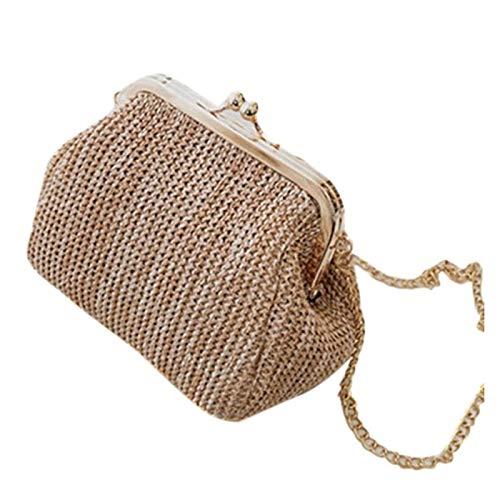Cvthfyky Small Crossbody Boho Bags for Women Evening Clutch Bags Hasp Ladies Handbag Female Straw Beach Rattan Women Messenger Bag (Color : Brown, Size : 18cm)
