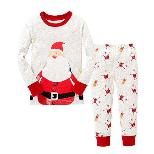 Natale Pigiama Due Pezzi, Inverno Domestico della neonata del Bambino del Ragazzo del Pagliaccetto del Neonato di Natale di Inverno + Pantaloni (3-4 Anni)