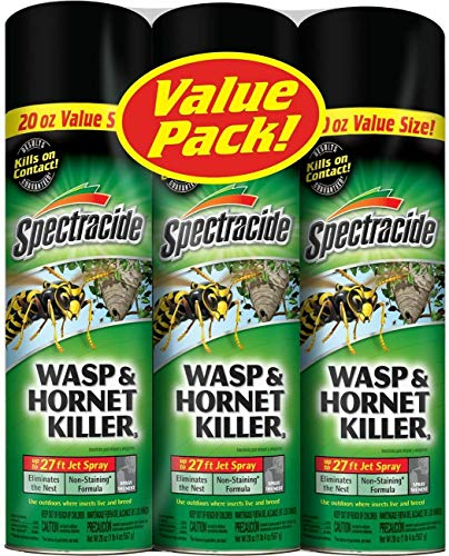 professional Spectracide Wasp and Hornet Killer, 20 oz aerosol, up to 27 feet spray (3 packs)