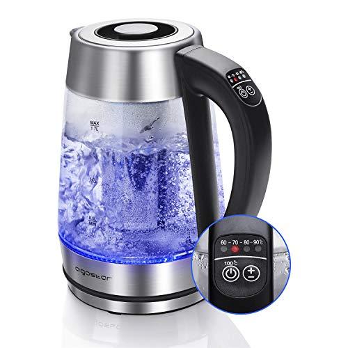 Aigostar Cris – Bollitore elettrico in vetro borosilicato, 2200W, 1,7 litri. Controllo della temperatura variabile, funzione di mantenimento caldo. Incluso un filtro staccabile, illuminazione a LED.