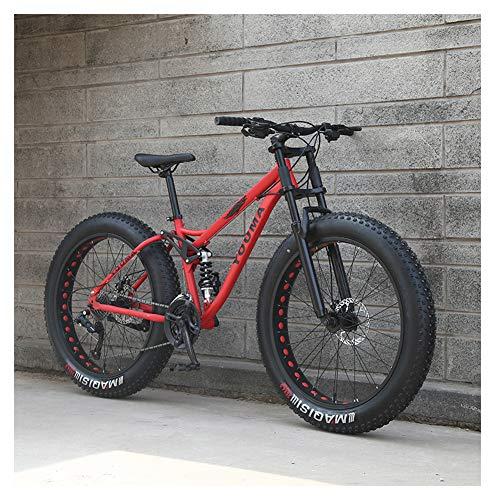 NENGGE 26 Zoll Mountainbike, Erwachsenen Jugend Hardtail MTB, Rahmen aus Kohlenstoffstahl, Großer Reifen Vollfederung Mountain Bike,Rot,21 Speed