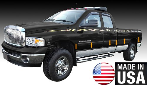 "Made in USA! Works with 2002-2008 Dodge Ram Quad Cab Long Bed Rocker Panel Chrome Stainless Steel Body Side Moulding Molding Trim Cover 8"" Wide 12PC"