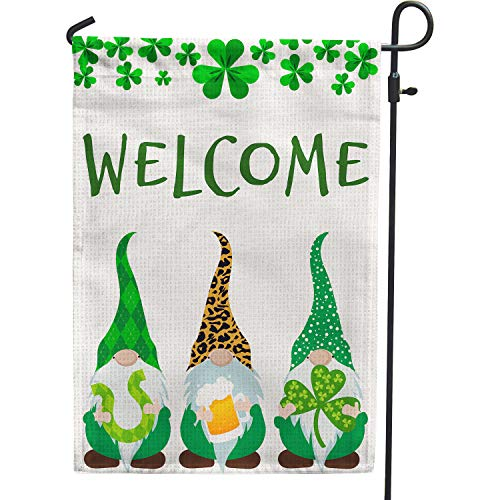 PAMBO St Patricks Day Garden Flag 12x18 Double Sided Burlap Gonme Welcome Flag for Saint Patricks Day Outside Decoration