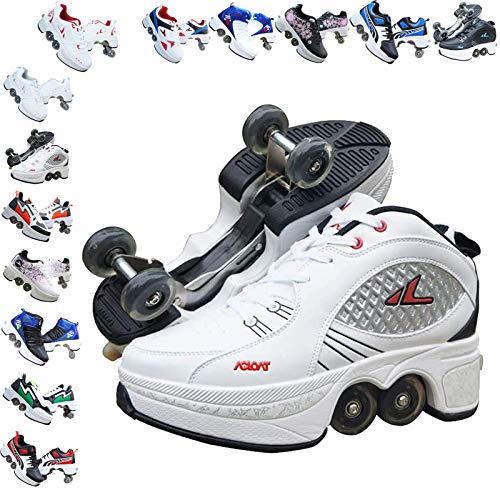 Rollschuhe mädchen,Rollschuhe Kinder verstellbar,Quad Skate Rollschuhe,Rollschuhe Sneakers,Rollschuhe Herren,Outdoor Sportschuhe Für Erwachsene,Multifunktionale Deformation Schuhe,B-7.5US