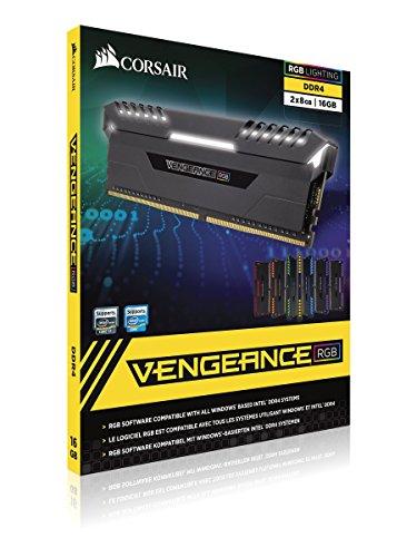 CORSAIR VENGEANCE RGB 16GB (2x8GB) DDR4 3000MHz C16 Desktop Memory - Black Colorado