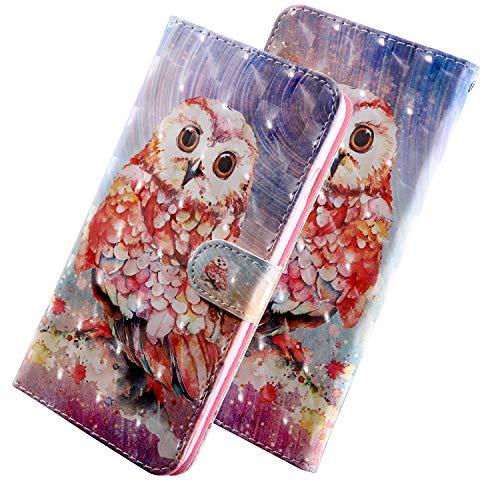 ShinyHülle PU Leder Handyhülle für LG Q7/Q7 Plus/Q7a Folio Tasche Glattes Muster Glitter 3D Bunt Brieftasche Wallet Flip Ledertasche im Brieftasche-Stil Farbige Eule Muster Handytasche für LG Q7