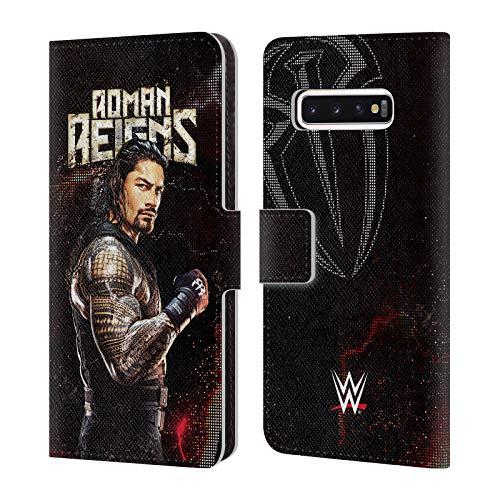 Head Hülle Designs Offizielle WWE Roman Reigns Superstars Leder Brieftaschen Huelle kompatibel mit Samsung Galaxy S10
