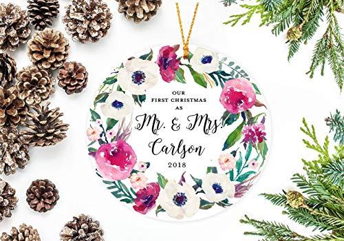 Lplpol 7,6 cm Cerchio Ornamento Personalizzato Il Nostro Primo Natale Come Mr. And Mrs. Ornamento Personalizzato Sposi Ornamento Con Ghirlanda Di Fiori Personalizzato
