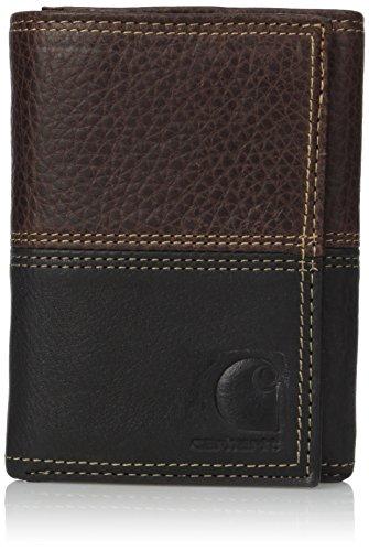 Carhartt Men's Standard Trifold Wallet, rugged brown/black, One Size