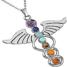 7 Chakra Yoga Reiki Medicine Caduceus Heart Pendant Necklace Medical jewelry for Doctor Nurse Gifts (Chakras)