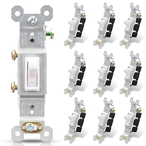 ELEGRP Single Pole Toggle Light Switch, 15 Amp, 120 Volt, Toggle Framed AC Quiet Switch, In Wall On/Off Switch Replacement, Self-Grounding, Residential and Commercial Grade, UL (10 Pack, Glossy White)