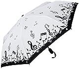 """RainStoppers Umbrella 44"""" Auto Open Auto Close Mini Music Design, Black/White, 44"""" Arc"""