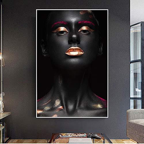 Geiqianjiumai Frameloos schilderij van het mooie zwarte mode-model canvasschilderij van make-upmeisjes-zeildoekkunst moderne Afrikaanse meisjes