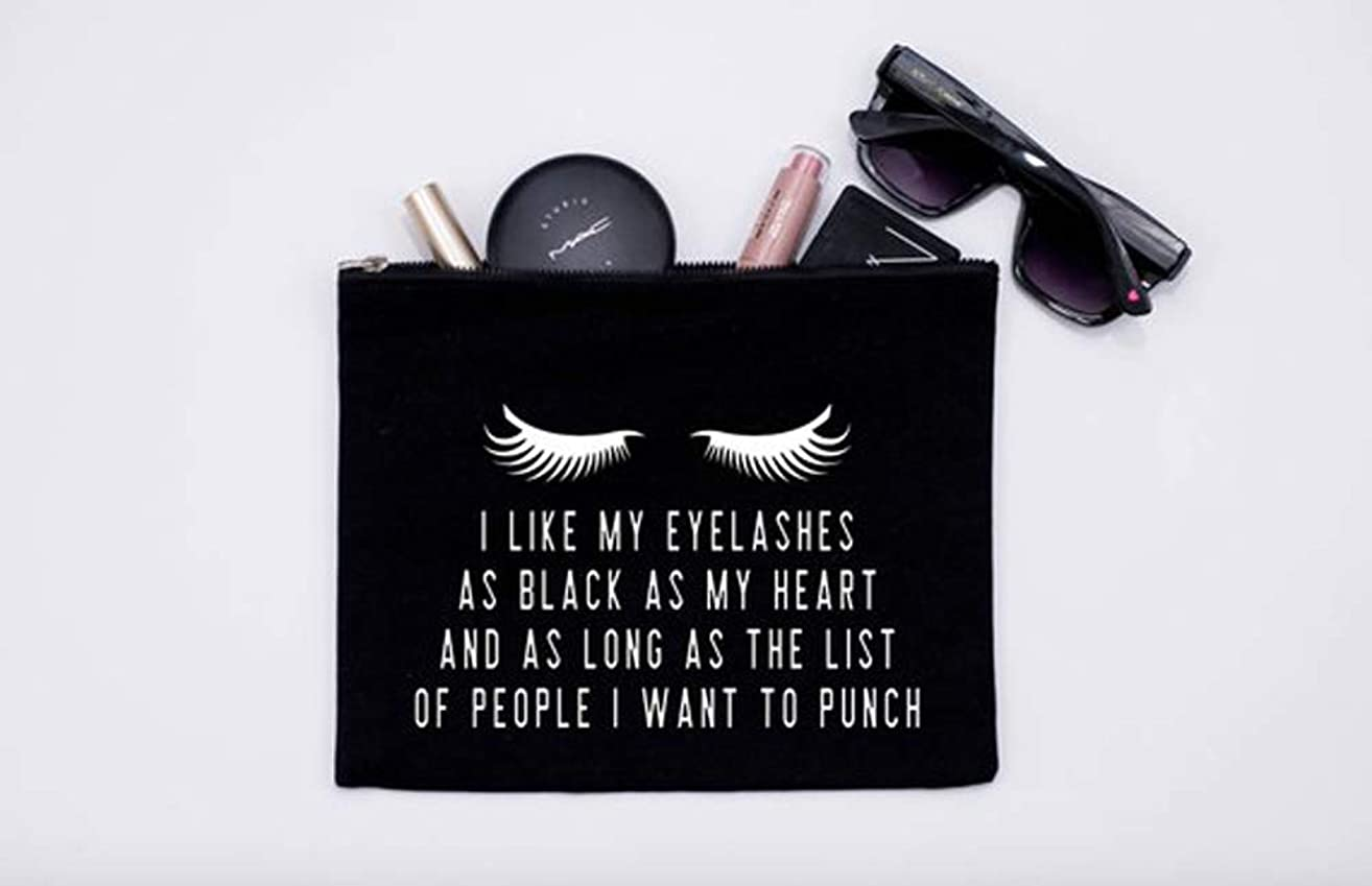 High quality I Like My Eyelashes As Black As My Heart//Makeup Bag//Cosmetic Bag//Lashes//Pen Holder//Bridal Gift//Boss Babe//Fashion//Lashes//Wing It