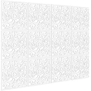 Kernorv DIY Room Divider Screen Made of Environmentally PVC,Simple and Modern Hanging Panel Screen for Decorating Bedding, Dining, Study, Sitting-Room, Hotel, Bar and School White 12 PCS