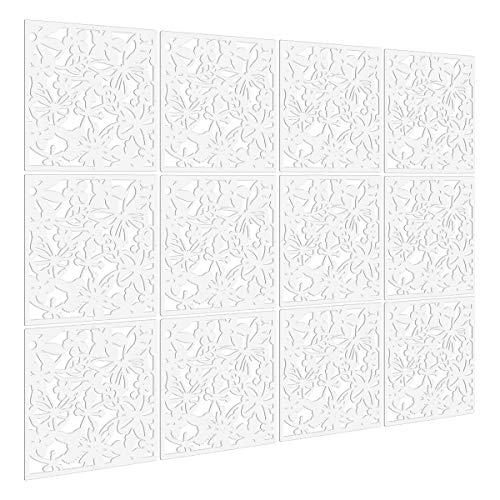 Kernorv DIY Hanging Room Divider Made of Environmentally PVC, 12 PCS Partitions Panels Screen for Decorating Bedding, Dining, Study and Sitting-Room, Hotel, Bar and Office. (12, White)