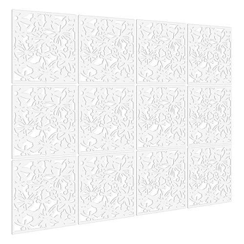 Kernorv biombo de 12 Paneles, Divisor habitación Separador separación Espacios divisoria Pared (Blanco)