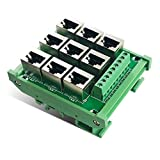 RJ-45/8P8C to Terminal Blocks 9 Parallel Port Breakout Board for Ethernet DMX-512 RS-485 RS-422 RS-232 Fit for 35mm DIN Rail