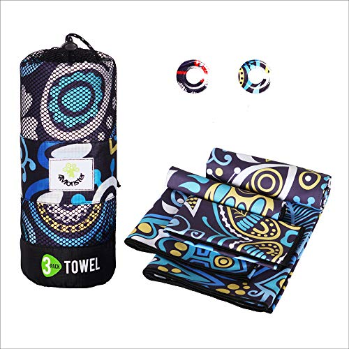 4Monster 3 Size Microfiber Camping Towels at 1 Pack,Fast Drying Beach Travel Towel Ultra Compact,Ultra Soft Gym Towel for Beach Hiking Yoga Travel Sports Backpacking Trip and Pool (Yellew)