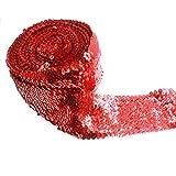 Yalulu 2 Meter Elastisch Glänzendes Paillettenband Glitzer Pailletten Bänder Borten