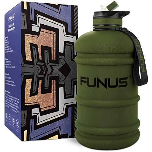 FUNUS Big Water Bottle BPA Free Half Gallon Water Bottle Jug Reusable Water Bottle for Men Women Fitness Sports Gym Outdoor (Army Green, 2.2L)