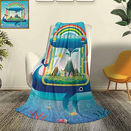 Ballena, Moderno y Elegante, Colcha para Todas Las Estaciones, futón, ecología, diseño Ambiental, Concepto Global con un océano arcoíris y una Ballena Grande, sofá Cama de Viaje Duradero, s
