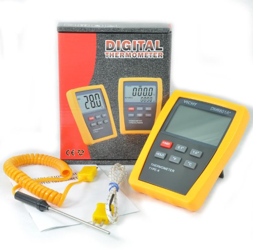K-type Scientific Digital Thermometer DM6801 with Stainless Steel Thermocouple TC2 with spiral cable