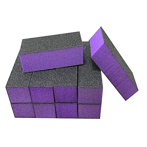 10 Pcs Nail Buffer Sanding Block Polisher Buffing File 100/180 Grit 3 sides Nail Files Art Pedicure Manicure File(Black Purple)