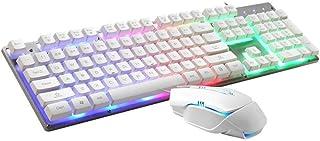 ZHHk LED Rainbow Backlit Keyboard And Mouse Set, Gaming Mouse And Keyboard 104 Key Computer PC Gaming Keyboard With Wrist ...