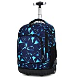 Warooma Student Wheeled Rolling Trolley Backpack, Adult Outdoor Travel Trolley Bag,Large Rolling Waterproof